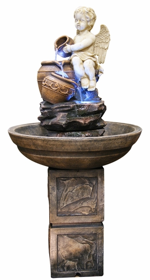 Angel with Urns Water Fountain w/LED Lights - Click to enlarge
