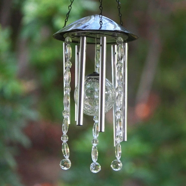 Anywhere Crackle Glass LED Wind Chime - Click to enlarge