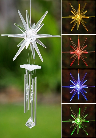 Solar Star Wind Chime - Color Changing LED - Click to enlarge