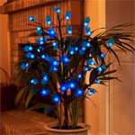 Battery Powered LED Bush w/Leaves - Blue