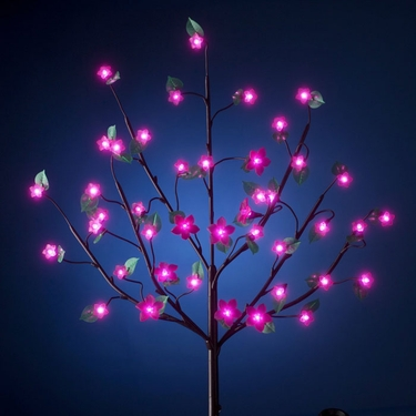 Battery Powered LED Bush w/Leaves - Pink - Click to enlarge