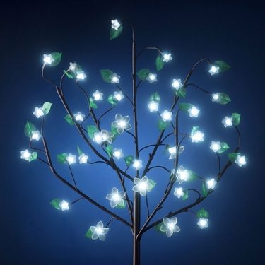 Battery Powered LED Bush w/Leaves - White - Click to enlarge