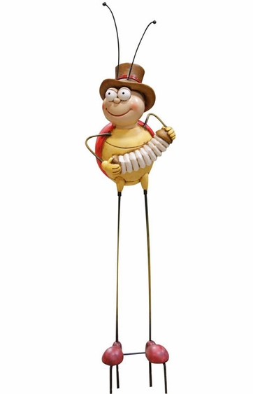 Bee Playing Accordion Garden Stake - Click to enlarge