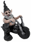 Biker Gnome on Black Bike