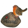 Bird on Rock w/ Welcome Sign