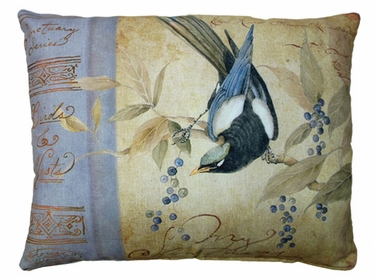 Bird on Vine Brown Outdoor Pillow - Click to enlarge