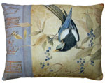 Bird on Vine Brown Outdoor Pillow
