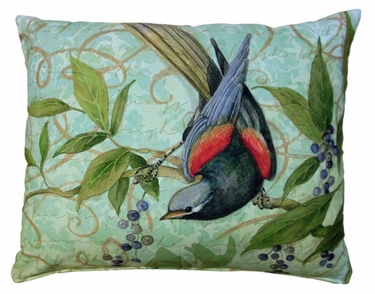 Bird on Vine Green Outdoor Pillow - Click to enlarge