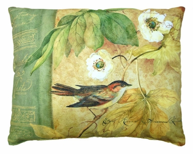 Bird on Vine White Flowers Outdoor Pillow - Click to enlarge