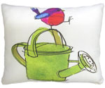 Bird w/Watering Can Outdoor Pillow
