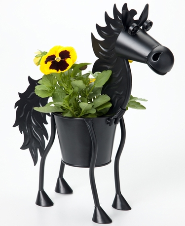 Mini Black Stallion Horse Planter - Click to enlarge