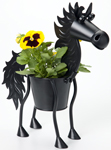 Mini Black Stallion Horse Planter