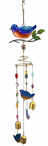 Blue Bird Wind Chime w/Jewels - Click to enlarge