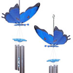 Blue Butterfly Wind Chimes (Set of 2)