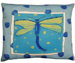 Blue Dragonfly Outdoor Pillow