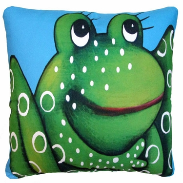 Blue Frog Outdoor Pillow (18