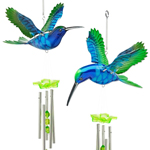 Blue/Green Hummingbird Wind Chimes (Set of 2)