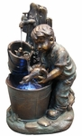 Boy Bathing Ducks Outdoor Fountain w/LED Lights