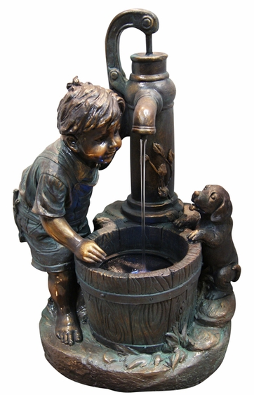 Boy with Puppy Outdoor Fountain w/LED Lights - Click to enlarge