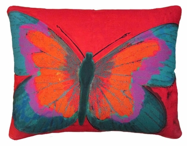 Brilliant Butterfly Red Outdoor Pillow - Click to enlarge
