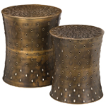 Bronze Lotus Garden Stools & Planters (Set of 2)