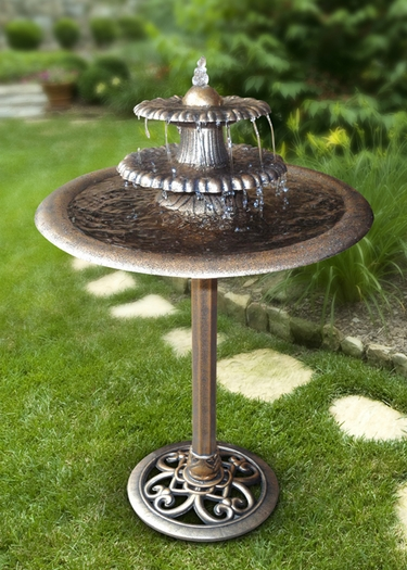 Bronze Tiered Birdbath Garden Fountain - Click to enlarge