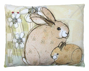 Bunnies With Flowers Outdoor Pillow - Click to enlarge