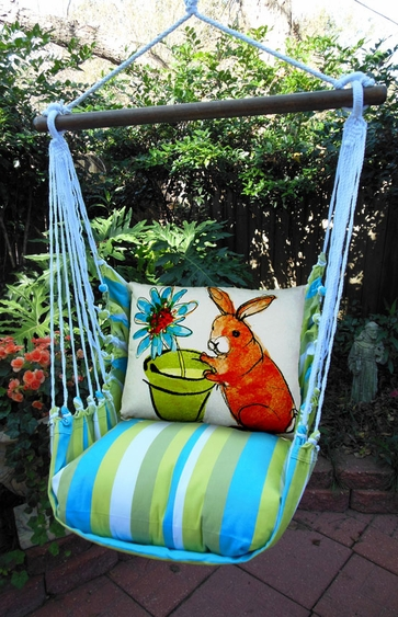 Bunny w/ Flower Pot Hammock Chair Swing Set - Click to enlarge