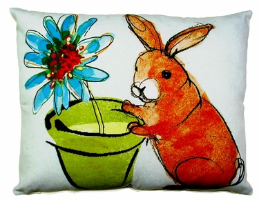 Bunny w/Flower Pot Outdoor Pillow - Click to enlarge