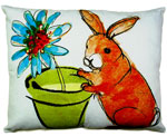 Bunny w/Flower Pot Outdoor Pillow
