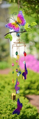 Butterfly Wind Chime w/Jewels - Click to enlarge