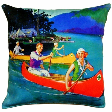 Canoes on Lake Outdoor Pillow - Click to enlarge