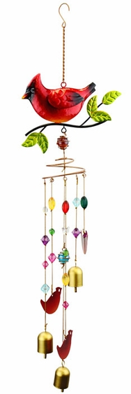 Cardinal Wind Chime w/Jewels - Click to enlarge