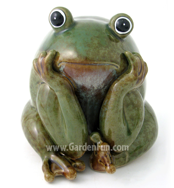 ceramic frog statue  garden thinker only . at garden fun, ceramic frog garden decor