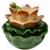 Ceramic Frog & Water Lily Tabletop Fountain