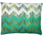 Chevron Small Green Outdoor Pillow