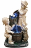 Children and Puppy Outdoor Fountain w/LED Lights