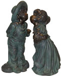 Children Kissing Garden Statue