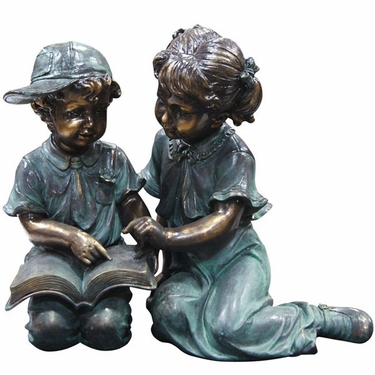 Children Reading Garden Statue - Click to enlarge