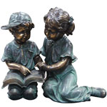 Children Reading Garden Statue