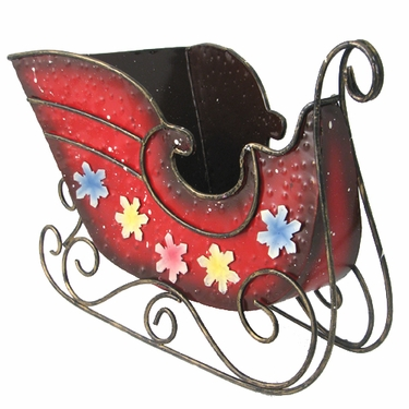 Christmas Red Metal Sleigh Decoration - Click to enlarge