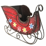 Christmas Red Metal Sleigh Decoration