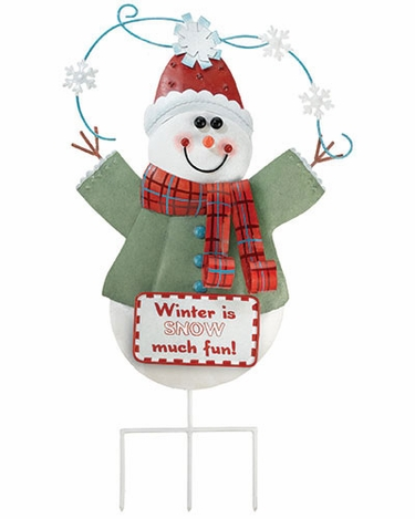 Christmas Snowman Stake / Wall Decor - Click to enlarge