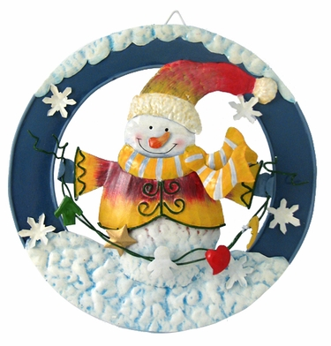 Classic Metal Snowman Wall Plaque - Click to enlarge