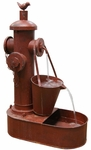 Classic Red Fireman's Outdoor Fountain