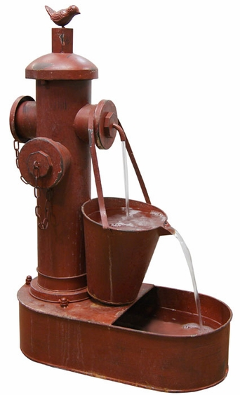 Classic Red Fireman's Outdoor Fountain - Click to enlarge