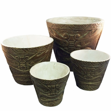 Classic Tiki Bucket Planters (Set of 4) - Click to enlarge