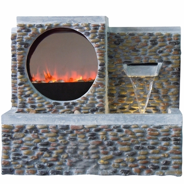 Cobblestone LED Fire & Water Fountain - Click to enlarge