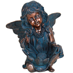 Copper Fairy Bird Bath Statue