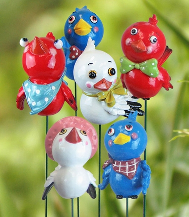 Country Birds Garden Stakes (Set of 3) - Click to enlarge